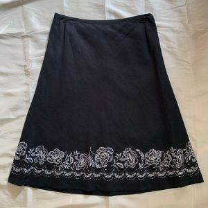 Loft Black Skirt w/ Beaded & Floral Stitching